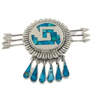 Vintage Sterling Silver Turquoise Pendant Brooch